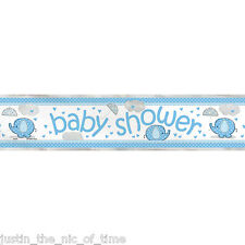 BLUE UMBRELLAPHANTS Baby Shower Party Banners Decorations 12ft FOIL BANNER