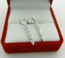 Beautiful 10k White Gold Dangle Natural Diamonds Stud Earrings