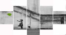 Extra Large Five Piece Set Banksy Lime Balloon Hope Graffiti Canvas Picture