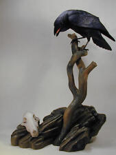 Common Raven Original Wood Carving