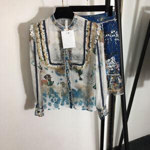 Fashion Women Print 2020 Blouse+Skirt Suits 2/PCS Wholesale Sets Luxury New Hot