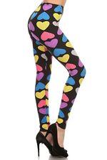 Leggings S-L (2-10) Polyester Spandex EEVEE Multi Color Heart Print Black