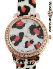 LADIES WOMENS FASHION CRYSTAL PRINT LEOPARD WRIST WATCH ORANGE/BLACK/WHITE