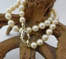 Schimmernde Perlenkette mit Diamanten, Rubinen und Saphiren 585 Gelbgold