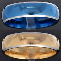 8mm Tungsten Plated Dome Top Silver Edge Men's Jewelry Wedding Band Ring TR