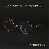 100% Pure Titanium gold eyeglasses mens Vintage Round rx optical Eyeglass frame