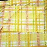 Vintage Burlington twin sheet pillow case yellow peach lime green ribbon plaid