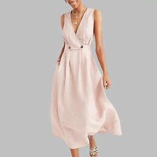 Summer Women V-Neck Solid Vest Sleeveless Button Elegant Ladies Beach Long Dress
