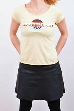 Levis Hollywood Hills Casual T-shirt Pale Yellow Red Tab Short Sleeve Tee Top S