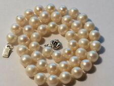 AkoyaPerlen KetteVerschlussSilber 925 mitSaphiren Perlen 8,5-9,5 mm