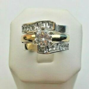 Ladies 2 Tone Sterling Silver 925 & 14K Yellow Gold Engagement Ring CZ Round