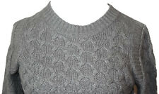 J. Crew Gray Wool/Angora Blend Cable knit Crewneck Sweater Womens Size M