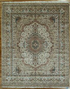 Ivory Silk Zhenping Collection Delicate Handmade Carpet 8' x 10' Rug
