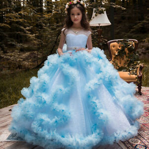 Childrens Girls Elegant Formal Ruffled Princess Pageant Dress Puffy Ball Gown