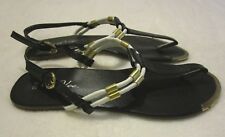 Vee Vee Black Flat Slingback Thong Sandal w/Gold & White Accents  -Size 9 / 10
