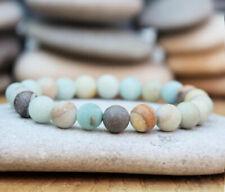 Women Men Natural Matte Amazonite Charm Bracelet Yoga Meditation Prayer 8mm Bead