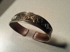 Vintage Brass Cuff Bracelet W/ India Mixed Metal brass Copper Silver