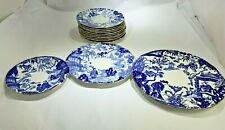 Elegant Royal Crown Derby Blue Mikado 13 Plates Saucers, Salad, Desert