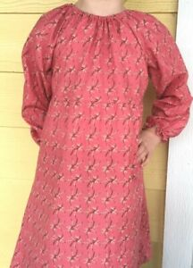 Girl long full peasant dress coral pink floral flowered cotton size 6 modest