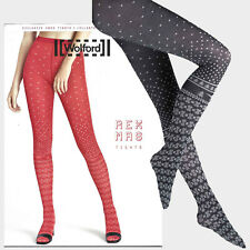 Wolford Rex Mas Tights - black / ash - L  ...  Winterliches Muster in Jaquard