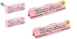 BLAZY SUSAN Kingsize Slim Pink Rolling Papers ULTRA THIN  AND PINK TIPS SET