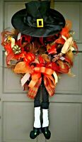 Fall Thanksgiving Pilgrim Wreath Deco Mesh Harvest Door Decor with Legs & Hat