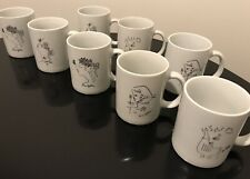 Vintage Jean Cocteau Limoges Porcelain Set of (8) Mugs Cups Signed Rare