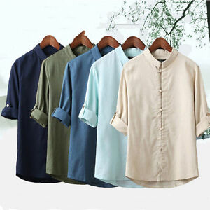Chinese Style Vintage Summer Men's Kung Fu Shirt Tops 3/4 Sleeve Tang Suit Coat