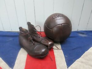 ANTIQUE VINTAGE STYLE HAND POLISHED RETRO LEATHER FOOTBALL AND LEATHER BOOTS