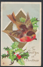 Embossed Greetings Postcard - To Greet You at Christmas - Robin & Holly  RS6057