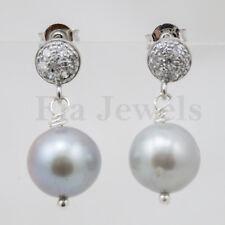 Orecchini Perle Grigie Naturali Argento zirconi EARRINGS natural grey pearls