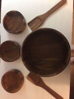 Vintage Wooden Salad Bowl 6 Piece Set 1 Large Bowl, 3 Side Bowls & Spoon/folk