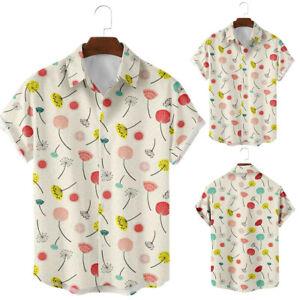 Mens Summer Hawaiian Short Sleeve Printed Beach Holiday Blouses Loose Tops Tees
