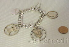 """estate vtg ELCO STERLING SILVER CHUNKY 7"""" CHARM BRACELET cut out coins Kennedy"""