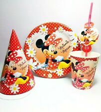 Minnie Mouse Party Birthday Supplies Party Hats 6 Plates 6 Cups 6 Straws 6