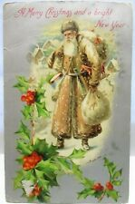 1907 POSTCARD MERRY CHRISTMAS SANTA CLAUS IN LONG BROWN COAT WITH TOYS