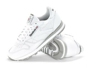 REEBOK CLASSIC LEATHER - MENS TRAINERS - WHITE/GREY - 2214 - BRAND NEW