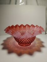 Vintage Fenton Cranberry Opalescent Hobnail Bowl with Crimped Edge 9""