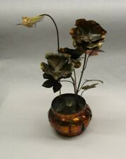 VINTAGE COPPER FLOWER POT & BUTTERFLY MUSIC BOX~Butterfly Spins