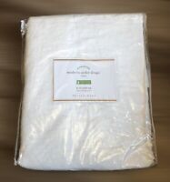 "Pottery Barn Classic Belgian Flax Linen Custom 36""x63"" Rod Curtain White NEW"