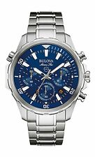 Bulova Marine Star Chronograph Blue Dial Silver Tone Men's Watch 96B256