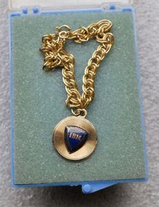 IBM QUARTER CENTURY CLUB 1/10 10kt gold filled GF medallion bracelet VINTAGE
