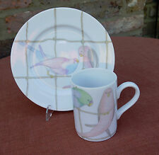 "Fitz and Floyd ""Pastel Parakeets""  Mug & 7.5"" Plate"""