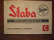 SPIELWAREN - STABA Metallbaukasten C - Orig. Anleitungsbuch (1963)