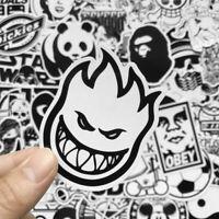 50Pcs Vinyl Black N White Skateboard Sticker bomb Laptop Luggage Decals Dope Lot