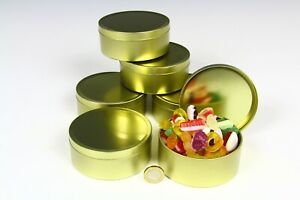 250ml EMPTY ROUND METAL TINS, SLIP LID  GOLD COLOUR 98mm Diameter - TRAVEL SWEET