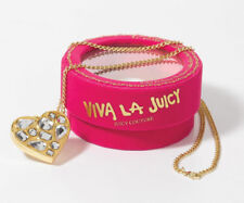 Juicy Couture Viva La Juicy  Golden Solid Perfume Heart Gem Necklace 0.7 g