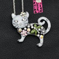 Women's Enamel Crystal Cat Kitten Pendant Chain Betsey Johnson Necklace/Brooch