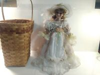 Cathay Collection Victorian Style Porcelain Doll Pink Dress With Basket   ds1338