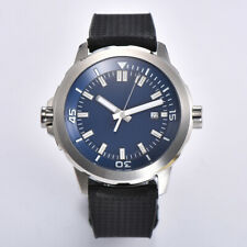 45mm sterile blue dial SS case Rotate Luminous rubber Automatic mens watch A01